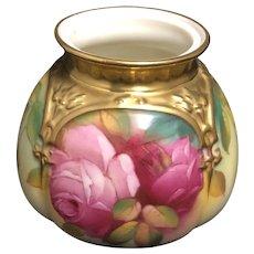 Royal Worcester Porcelain hand painted vase gold with Pink  Roses Signed M. Hunt 1938-43