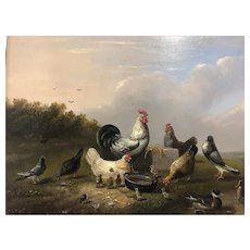 A fine small 19th Century oil painting On panel of Chickens, Roosters and other Birds By F. Van Severdonck C.1871