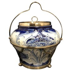 William Moorcroft English Pottery Blue And White Florian Ware Biscuit Barrel