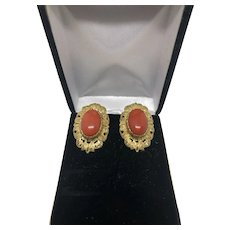 Pair of Italian 18 K and coral Earrings