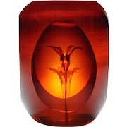 John Degenhart window paperweight with ruby colored glass paperweight.