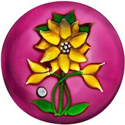 """""""J"""" Glass 1980 clematis and buds on color ground paperweight"""