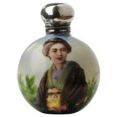 Antique English Porcelain Scent Bottle With Portrait c.1905