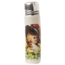 Antique English Porcelain Scent Bottle With Portrait c.1906