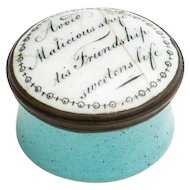 Enamel Motto Patch Box from Staffordshire Bilston or Battersea English 18th Century