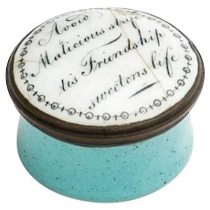 Enamel Motto Patch Box from Staffordshire Bilston or Battersea English 18th Century