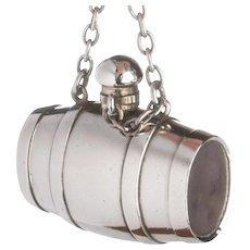 Silver Barrel Shaped Novelty Scent Bottle Vinaigrette Patch Box by Sampson Mordan England c.1872