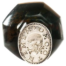 Continental Memento Mori Carved Bloodstone and Silver Desk Wax Seal c.1830