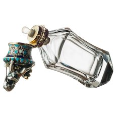 Scent Bottle of Rock Crystal Silver and Pearl by Morel & Duponchel France c.1844