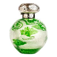 Perfume or Cologne Bottle in Cut Overlay Glass English c.1903
