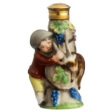 Porcelain Scent Bottle Depicting Boy Goatherd and Goat 19th Century