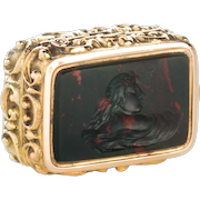 14k Gold and Intaglio Carved Bloodstone Vinaigrette c.1820