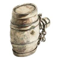 Barrel Form Vinaigrette Scent Bottle Patch Box by Sampson Mordan England c.1880