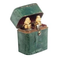 18th Century Shagreen Scent Case with Gold Mounted Miniature Scent Bottles