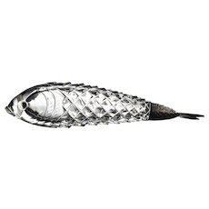 Antique Cut Glass Fish Form Figural Scent or Perfume Bottle by Thomas Webb and Sampson Mordan 1884 England