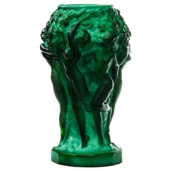 Czech Malachite Glass Schlevogt Grape Harvest Vase c1930