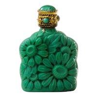 Bohemian Malachite Glass Perfume Purse Bottle by Morlee Czechoslovakia c.1930