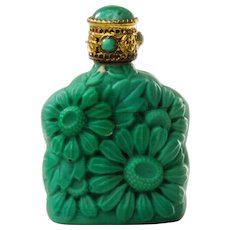 Bohemian Malachite Glass Perfume Purse Bottle by Morlee Czechoslovakia c.1930