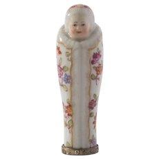Continental Porcelain Bodkin Needle Etui Case Swaddled Baby Wickelkind 18th Century