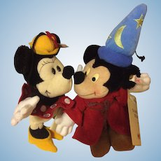 Steiff Sorcerer Mickey and Minnie Mouse