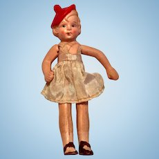 """5"""" Bisque Girl Doll made in Occupied Japan"""
