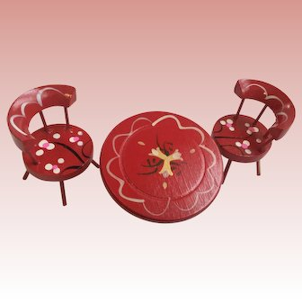 Three piece painted wooden doll house furniture