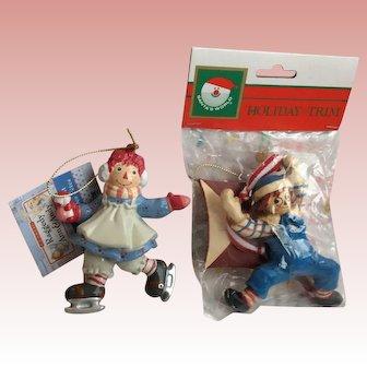Vintage Kurt Adler Raggedy Ann and Andy Ornaments