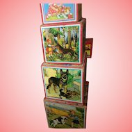 Wooden Nesting German Blocks with Lithograph pictures