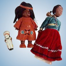 Native American  Dolls including a Frozen Charlotte