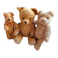 Three Vintage Loved Teddy Bears