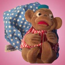 Knickerbocker Rubber Monkey puppet 1960's made in Japan