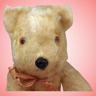 "Unmarked Vintage Golden Mohair Bear 8"" 1940s"
