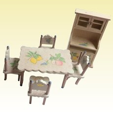 Wooden Dollhouse furniture, 4 chairs, table and hutch
