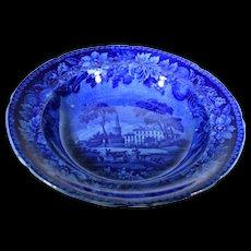 English Staffordshire Historical Flow Blue American Villa Sau Soup Bowl