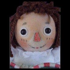 "R John Wright Doll Artist Felt 7 1/2"" Raggedy Ann Doll The Magical Hour with Box & Certificate"