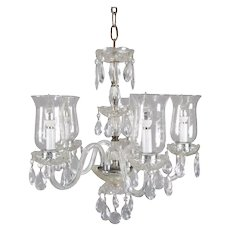 Vintage French Crystal and Chrome 5-Candle Light Chandelier with Etched Shades