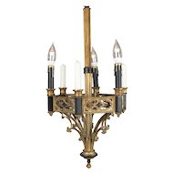 Antique Gothic Gilt Metal and Ebonized Combination Electric & Candle Chandelier