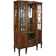 Antique Edwardian Mahogany Leaded Glass China Cabinet