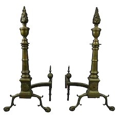 Antique Brass Federal Style Torchiere Andirons Claw and Ball Feet, circa 1900