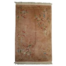 Antique Chinese Peking Room Size Carpet, Floral on Peach, approx 5.5'x8.75', circa 1930