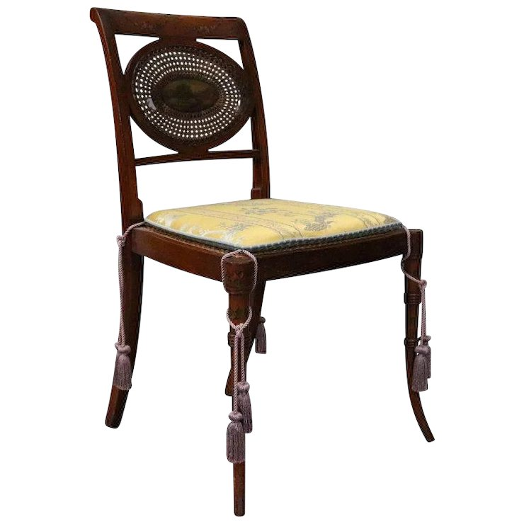 Antique English Regency Hand-Painted and Caned Mahogany Side Chair, : Antique  Revival, NY | Ruby Lane - Antique English Regency Hand-Painted And Caned Mahogany Side Chair