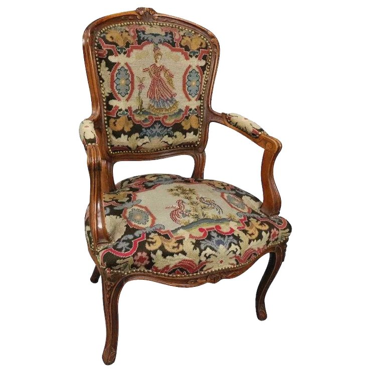 Vintage French, Louis XV Classical Style Fruitwood and Tapestry Armchair - Vintage French, Louis XV Classical Style Fruitwood And Tapestry