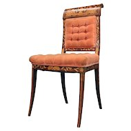 Dutch Marquetry Upholstered Mahogany Side Chair with Foliate Inlay, circa 1890