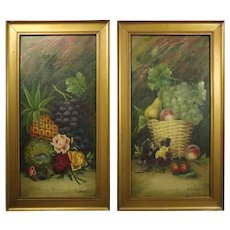 Pair of Antique Oil on Canvas Fruit & Floral Still Life Paintings by E. Chester