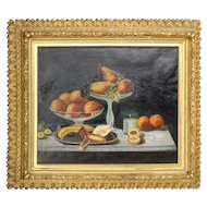 Lg Antique Victorian O/C Fruit Still Life in 1st Finish Gold Gilt Frame