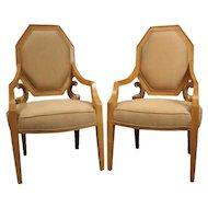 Pair of Vintage Neoclassical Giltwood Figural Upholstered ArmchairsPair of Vintage Neoclassical Giltwood Figural Upholstered Armchairs