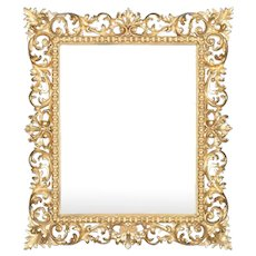 Italian Rococo Style Reticulated Foliate Form Giltwood Mirror, 20th Century