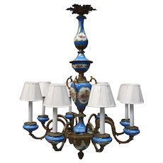20th C French Louis XIV Gilt Bronze Eight-Light Chandelier, Traditional Sevres Style Porcelain Inserts