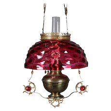 Antique Victorian Cranberry Glass and Bronze Electrified Hanging Gas Lamp