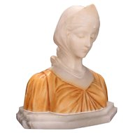 19th Century Italian Classical Carved Alabaster Bust of  Beatrice from Dante's Divina Comedia